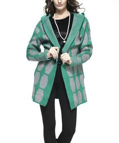 Look what I found on #zulily! Green & Gray Hooded Open Jacket by Simply Couture #zulilyfinds