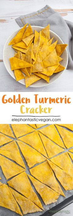 Golden Turmeric Cracker | http://ElephantasticVegan.com