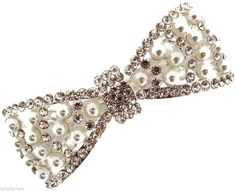 Beautiful Pearl Crystal Barrette Hair Clip Bow Design Silver Tone Bridal Prom