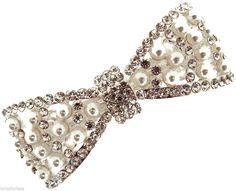 Beautiful Pearl Crystal Barrette Hair Clip Bow Design Silver Tone Bridal Prom