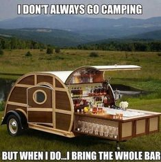 Paneled Woody Teardrop camper trailer with pull-out cocktail bar for a Bulleit Bourbon tailgater Camping Car, Camping Hacks, Funny Camping, Camping Humor, Camping Stuff, Camping Spots, Camping Life, Camping Ideas, Bulleit Bourbon