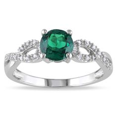 Round-cut created emerald and white diamond engagement ring10-karat white gold jewelryClick here for ring sizing guide
