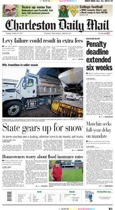On Thursday's front, the Obama administration said it would give Americans who buy health insurance through new online marketplaces an extra six weeks to obtain coverage before they risk a penalty.The revision means those who buy coverage through the exchange will have until March 31. Also, the Mountain State gears up for snow. A freeze watch was in effect for several counties and Charleston's public works department was conducting a dry run of its snow equipment.