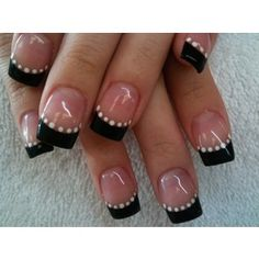 black french manicure tips and white polka dot