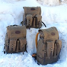 Frost River's Isle Royale Mini on top, Isle Royale Jr. at left, Isle Royale on right https://www.frostriver.com/shop/isle-royale-bushcraft-pack/