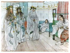 Carl Larsson (1853-1919) Sweden, For Karin's name day, 1899