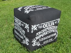 A personal favorite from my Etsy shop https://www.etsy.com/listing/201012302/ouija-ottoman-pouf-hassick-white-on