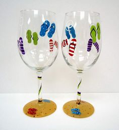 one FLIP FLOP WINE glass -hand painted glass - beach wine glass - personalized glass via Etsy