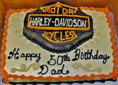 Harley Davidson birthday cake with shaped logo on top of sheet cake~