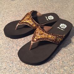 Yellowbox bling leather flip flops NWOT Never worn bronze.  Comes in box. yellowbox Shoes Sandals