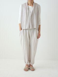 linen drop pocket full length pants