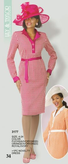 Lily and Taylor 3177 Womens Plaid Church Suit-Lily & Taylor has designed this long-sleeve novelty plaid print one-piece dress for ladies to wear to church, religious programs, business meetings, or social gatherings.
