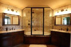 Craftsman Master Bathroom - Find more amazing designs on Zillow Digs! Rustic Master Bathroom, Craftsman Bathroom, Rustic Bathroom Designs, Bathroom Ideas, Bathroom Makeovers, Rustic Bathrooms, Small Bathroom, Corner Tub Shower Combo, Tub Enclosures