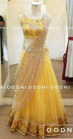 Sari style lehenga with waist chain Mehr