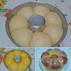 1 pacote fermento seco 1 e 1/2 xícara (chá) água 1 lata leite condensado 2 colheres manteiga 3 ovos 1 kg farinha de trigo Comentários comments