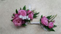 Pink flower corsages and boutonniere for wedding and events.