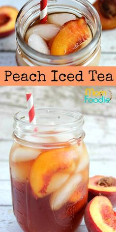 Peach Iced Tea is about as refreshing as you can get. There is something extra refreshing about Peach Iced Tea, and it is one of my favorite drinks to get at Sweet Tea Recipes, Iced Tea Recipes, Fruit Recipes, Smoothie Recipes, Smoothies, Nutella Recipes, Drink Recipes, Cookie Recipes, Iced Tea