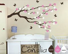 "Nursery Blossom Branch with Butterflies - Wall Decal - Wall Sticker - Cherry Blossom Wall Decals - Large: approx 39"" x 67"""