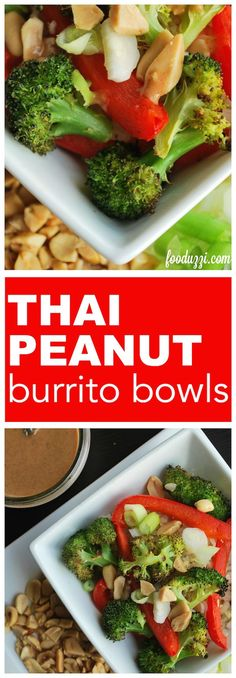 Peanut Burrito Bowls Thai Peanut Burrito Bowls: Packed with vegetables and topped with an addictive homemade peanut sauce, these Thai Peanut Burrito Bowls are a perfect, quick, weekday meal that's gluten free and vegan! Veggie Recipes, New Recipes, Whole Food Recipes, Vegetarian Recipes, Dinner Recipes, Cooking Recipes, Healthy Recipes, Paleo Food, Plant Based Eating