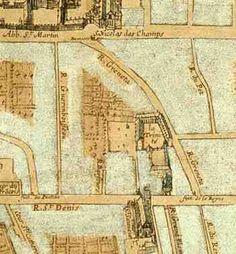 Paris 2e - Figure 2. Plan Gomboust (détail l), 1652 - Du nord au sud : le cimetière huguenot, le cimetière catholique et l'Hhôpital de la Trinité, son église, ses cours et ses différents bâtiments.