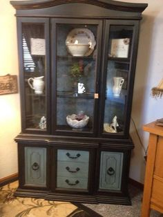 Upcycled black hutch for Black front room furniture