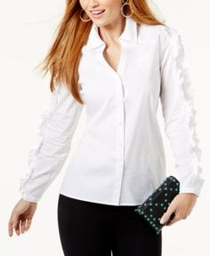 Anna Sui Loves INC Petite Corset-Back Shirt, Created for Macy's - White P/XS