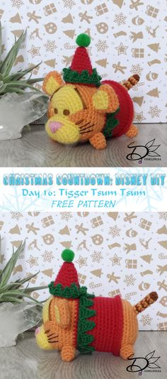 Day 16 of my Christmas Countdown, the days are going so fast! And today it's time for our bouncing friend, Tigger Tsum Tsum Amigurumi!