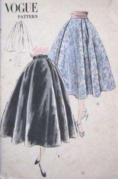 Vintage Vogue 1950s Skirt Pattern Rockabilly Flared Swing 5 Gore Lined Underlay 7774 Easy 28 Waist. $18.00, via Etsy.
