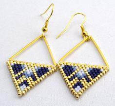 Earrings Beadwork Gold Triangle Earrings Geometric