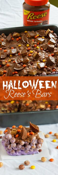 Ultimate Reese's Peanut Butter Cereal Squares | http://thecookiewriter.com | #dessert #Halloween #chocolate