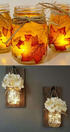 DIY mason jar lights: 25 best tutorials on making beautiful pendants & lanterns and choosing quality kits, supplies to make them safe and long lasting! A Piece Of Rainbow jar lanterns Magical DIY Hanging Mason Jar Lights (Easiest Ever! Hanging Mason Jar Lights, Mason Jar Lighting, Mason Jar Lamp, Mason Jar With Lights, Mason Jar Lanterns, Diys With Mason Jars, Fairy Lights In A Jar, Fall Mason Jars, Bottle Lights