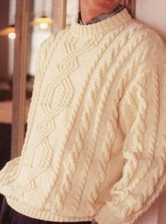 Traditional shape, adventurous cables for this pullover - there is a clear chart but no pattern