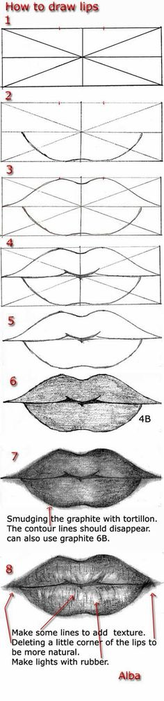 Delineate Your Lips - Tutorial draw lips by lamorghana on deviantART - How to draw lips correctly? The first thing to keep in mind is the shape of your lips: if they are thin or thick and if you have the M (or heart) pronounced or barely suggested. Drawing Lessons, Drawing Tips, Drawing Sketches, Art Lessons, Pencil Drawings, Painting & Drawing, Drawing Ideas, Sketching, Drawing Drawing