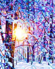 art painting landscape abstract winter morning forest snow