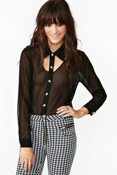 Skull Cutout Blouse