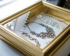 Shadow box turned jewelry display - perfect for displaying delicate jewelry or vintage pieces