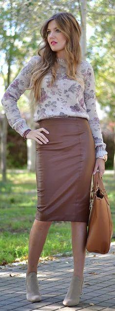 fall outfits womens fashion clothes style apparel closet ideas. #Pencil #Skirt skirt handbag shoes blouse
