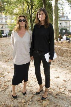 Mademoiselle Agnès et Emmanuelle Alt ... au défilé Printemps-Été 2014 Hermès.-- both looks