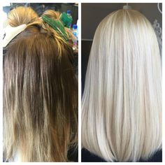 """""""The backstory on this hair transformation began with a referral from another one of my beautiful blonde clients who travels all the way from New Orleans to have her blonde touched up every 6 weeks,"""" says Marilyn Cole (@marilynrockshair), whoowns a private studio in West Hollywood, California.""""This particular client came into my chair expressing how no one could or would dare to take her to the brightest of blondes that she had desired."""