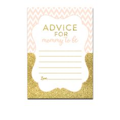 Baby Shower Peach Chevron Gold Glitter - Activity Advice for Mommy to Be - Instant Download Printable