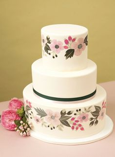 Rifle Paper Co. inspired hand-painted cake | Honey Crumb Cake Studio | seattlebridemag.com
