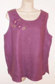 Hot Cotton 1X Linen Blouse Embroidered Purple Sleeveless Tank Top USA #HotCotton…