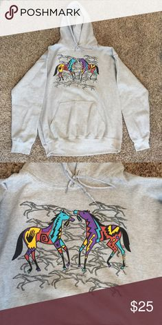 Native American print hoodie Native American print. Brand new. Never worn. This jacket is hand made. Has a pic of two horses. Super soft and comfy. Size large. Goes cute with leggings. It can be for both men and women. Jackets & Coats
