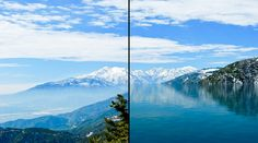 山の風景に水面を描き足す