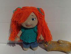 Купить Фросенька вязаная кукла - рыжий, зеленый, бирюза, кукла ручной работы…
