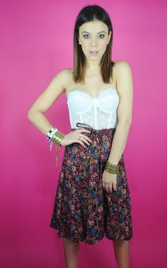 Vintage 1970s Floral Button Down Midi Skirt by IndieStyleSociety, $42.00