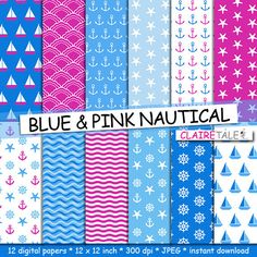 "Buy Nautical digital paper: ""BLUE & PINK NAUTICAL"" patterns with anchors, wheels, starfish, boats, waves, stripes in pink and blue by clairetale. Explore more products on http://clairetale.etsy.com"
