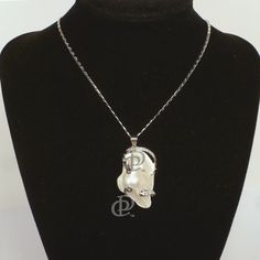 Baroque Pearl Shell Wire Wrapped Pendant Necklace with Silver Tone Chain.  Available from D & P Creations online store.  $9.95