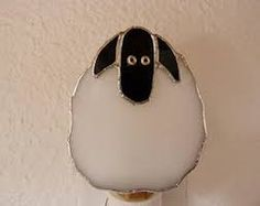 Night Light, White Sheep Lamb Farm Animal, Real Stained Glass, Wall Plug In, Kids Bathroom Bedroom N Sensor Night Lights, Light Sensor, Stained Glass Projects, Stained Glass Patterns, Animal Night Light, Stained Glass Night Lights, Sheep And Lamb, Wall Plug, Stuffed Animal Patterns