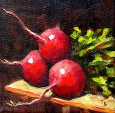 "Daily Paintworks - ""Three Radishes"" - Original Fine Art for Sale - © Irina Beskina Watercolor Art Paintings, Small Paintings, Fruit Painting, Ceramic Painting, Vegetable Painting, Natural Form Art, Still Life Fruit, Chocolate Art, Painting Still Life"